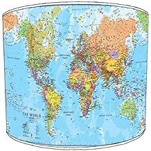 Premier Lampshades–Techo Mapa del mundo Drum Lamp shades, plástico metal, Varios Colores, 30,5 cm