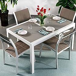 Margaritas mesa y 4sillas | extensible 200cm juego de muebles de exterior, aluminio, White & Champagne, Lea Chairs