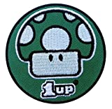 1 UP Mushroom Nintendo Mario Bros Cool Kids Retro Patch Iron On Aufnäher Aufbügler Patch