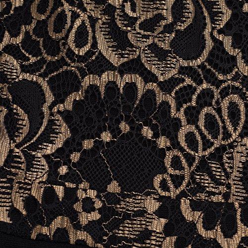 HOMEYEE Frauen elegantes kurzes Hülsen Spitze Patchwork Abschlussball Geschäfts Retro Kleid B378 Schwarz
