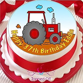"""7,5 /""""ferme tracteur personnalisé anniversaire glaçages pour gâteau décorations sur papier de riz"""
