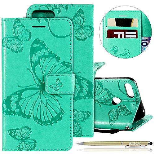 Kompatibel mit Leder Handy Schutzhülle Huawei Honor 10 Lite Lederhülle Schmetterling Muster Leder Handyhülle Handytasche Brieftasche Ledertasche Bookstyle Flip Case Cover Klapphülle,Grün