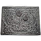 Highland Kilt Herren Schottische Kilt Gürtelschnalle 2 Distel Emblem Verschiedenen Finish/Highland Gürtel Schnallen Swirl Celtic Chrom Antik Silber Antik