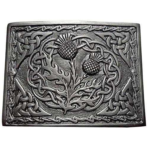 Highland Kilt Herren Schottische Kilt Gürtelschnalle 2 Distel Emblem Verschiedenen Finish/Highland Gürtel Schnallen Swirl Celtic Chrom Antik Silber Antik Highland Swirl