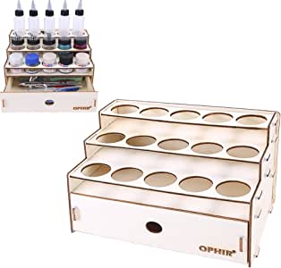 Vaorwne 81 Hole Wooden Pigment Bottle Storage Organizer Color Paint Ink Brush Stand Rack Modular Holder School