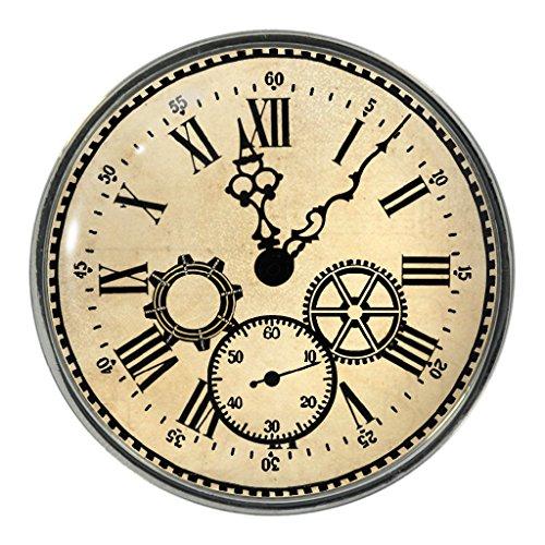 Cog Kostüm - Anstecker, Vintage-Motiv Uhr,