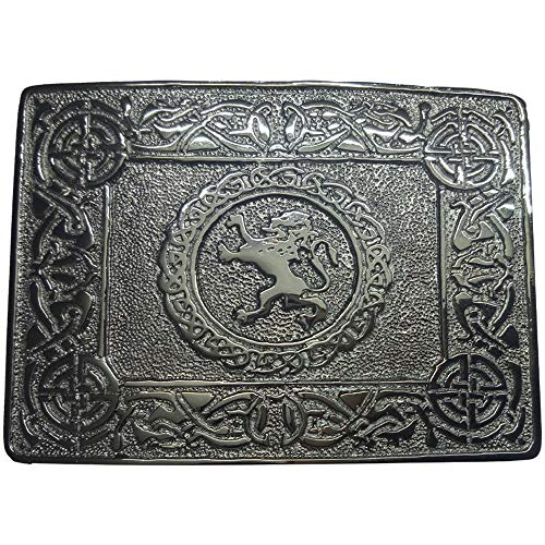 Scottish Kilt Belt Buckle Lion Rampant with Celtic Knot Design Chrome Finish (Scottish Kilt Brosche)