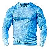 Alivebody Herren Bodybuilding Tapered Langarm Slim Fit Sweat-Shirt Muskel Hoodie Heather Blau L