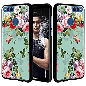 Huawei Honor 7X Case, Huawei Mate SE Case, Linkertech Slim Air Armor Thin Fit Silicone Gel Soft TPU Bumper Durable Flex and Easy Grip Protective Case for Huawei Honor 7X/Mate SE (Peony)