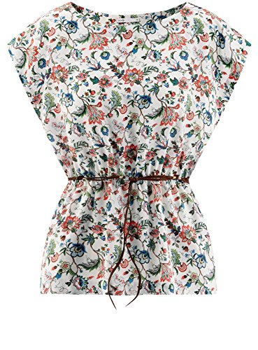 oodji Ultra Damen Viskose-Bluse mit Druck Rot (4562F)