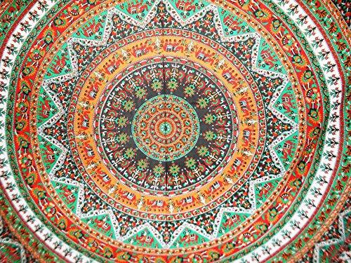 Traditionelle Jaipur Groß Floral Elefanten Mandala Wandbehang, Wandteppich, Bohemian, Mandala, Schlafsaal, Raum Dekorationen Hippie Picknick Werfen, Boho Betten, Gypsy Beach Decke 223,5x 241,3cm (Hippie Decke Werfen)