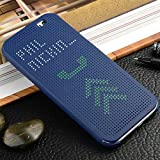 Exclusive DOT VIEW Flip Case Cover For HTC ONE ME DUAL SIM-BLUE