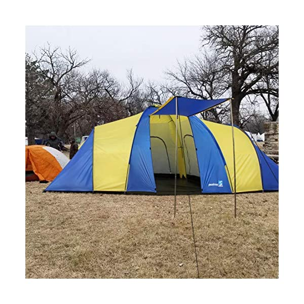 Peaktop 3 Bedrooms 1 Large Living Room 8 Persons Camping Tent Family Group Double Poles Hiking Beach Outdoor Tunnel Dome 3000mm Waterproof &UV Coated Bright Color 1 Year Warranty (5 Shapes) 2