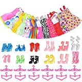 Enlarge toy image: Asiv 12 Dresses, 12 Paris of Shoes, 12 Hangers Accessories for Barbie Dolls for Girls Gift (36 Pieces)