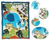 Luxus - Patchworkdecke 160 cm * 240 cm - Baumwolle - Giraffe Elefant Tiger Löwe - für Kinder / Baby / Mädchen / Jungen - Zootiere Decke Kuscheldecke Kinder Plaid Kinderdecke - Tagesdecke Quilt / Patchwork Krabbeldecke Tiere