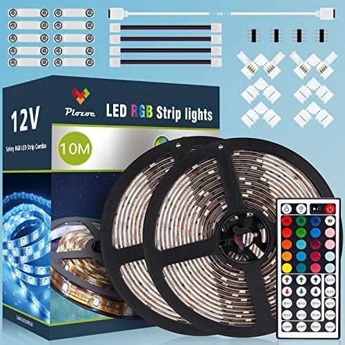 LED Strip, 10M RGB SMD5050 LED Streifen, IP65 Wasserdicht Flexibles LED Lichtband, Leiste Band Beleuchtung, 44 Tasten Fernbedienung, Controller, 12V5A Netzteil, Stripe Verbinder, Streifen Verlängerung