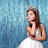 GB Einhorn 2Tiffany Foto Hintergrund Metallic Lametta Folie Fransen Vorhänge | 6x 8Füße | Party Supplies für Requisiten, Geburtstag, Hochzeit, (2Stück, Hellblau)