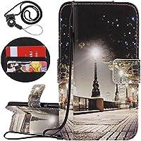 Coopay für Huawei P Smart Hülle Leder,Schutzhülle Ledertasche Kunstleder Tasche,Ständer-Kartenfächer Flip Brieftasche,Lederhülle Handytasche,1xSchlüsselband,Straße Nachtsicht