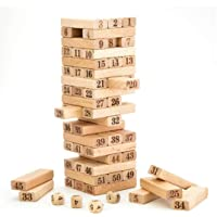 divine man Wooden Building Blocks Puzzle 51 Pcs Challenging 4pcs Dice Wooden Stacking Game Maths for Adults and Kids