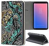 Samsung Galaxy S5 Mini G800 Hülle Premium Smart Einseitig Flipcover Hülle Samsung S5 Mini G800 Flip Case Handyhülle Samsung S5 Mini Motiv (1501 Schmetterlinge Absract Türkis Grau)