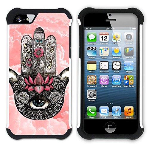 Graphic4You Hamsa Hand der Fatima Hart + Weiche Kratzfeste Hülle Case Schale Tasche Schutzhülle für Apple iPhone SE / 5 / 5S Design #11