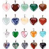 Reccisokz - 20 colgantes de piedras en forma de corazón, cuentas de chakra, abalorios de cristal, 2 tamaños diferentes, vario