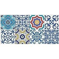 Pegatinas de azulejos tradicionales de Talavera Baño Pegatinas de azulejos de cocina Calcomanías Decoración del hogar, 20 cm x 500 cm