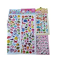 Fat-Catz-copy-catz - 5x different randomly selected sheets of pandas, cats, birds, animals puffy 3D style stickers for Craft Kids Scrap Books