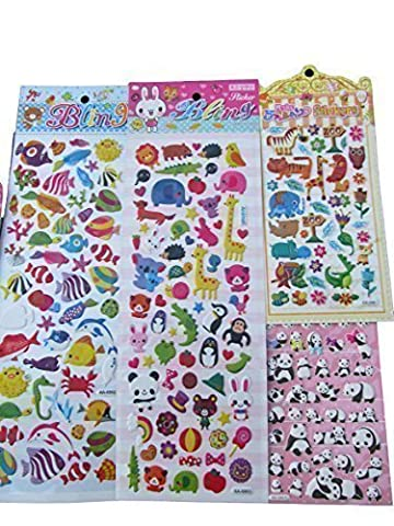 5x different randomly selected sheets of pandas, cats, birds, animals