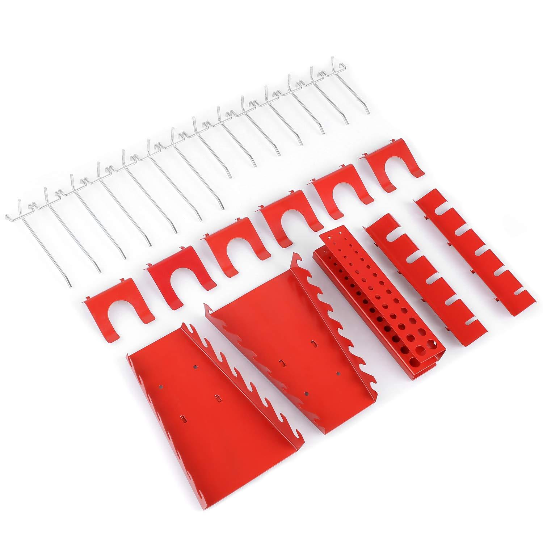 120 x 60 cm Organizador y Soporte para Pared de Multiusos FIXKIT Panel para Herramientas de Metal 17 piezas Tablero Perforado