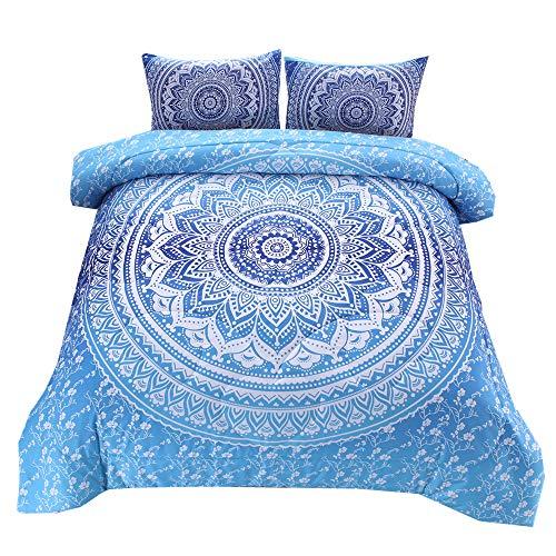 NTBED Bohemian Betten Mandala Tröster Set, exotischen Muster Boho Betten Set (Queen, Multi), Polyester, blau, Queen (Tröster Set Boho)