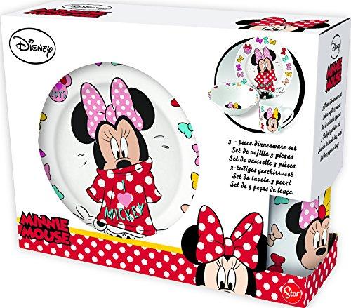 Disney Minnie Mädchen Frühstücksset, 3 teilig, Porzellan - Tasse, Teller, Müslischale - Spülmaschinen und Mikrowellengeeignet - hohe Qualität (Tasse Und Teller Set)