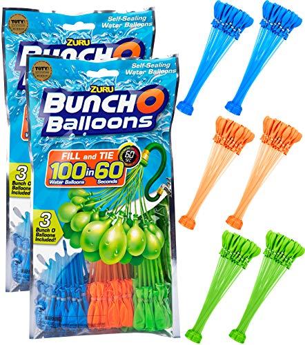 [ZURU] Bunch O Balloons - 210 Stück / 100 in 60 Sekunden / selbstschließend / WASSERBALLONS / 6 Bündel á 35 Wasserbomben / Water Balloons Seal / SELF Seal / Mixed