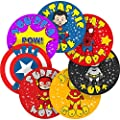Superhero Comic Reward Sticker Labels, 70 Stickers @ 2.5cm, Glossy Photo Quality, Ideal for Children Parents Teachers Schools Doctors Nurses Opticians Pupils Classrooms Merit Motivation Praise