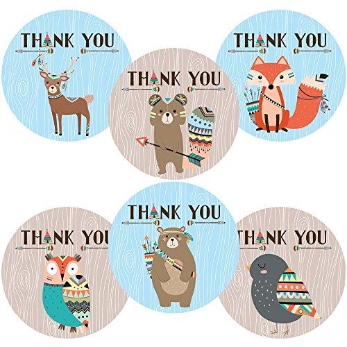 Adorebynat Party Decorations - EU Junge Stammes Waldwald Tiere danken Ihnen Aufkleber Aufkleber - Geburtstags-Baby-Duschen-Party - Set 30 (Ihnen Danken Braut-dusche)