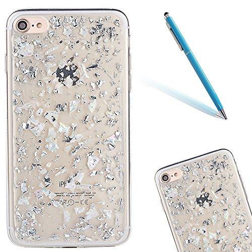 """iPhone 7 Hülle, Kristal Glitzer CLTPY iPhone 7 Ultradünne Glänzend Plating TPU Handytasche mit Sparkly Bling Diamant, Weich Stoßdämpfend Silikon Schale Fall für 4.7"""" Apple iPhone 7 + 1 x Stift - Weiß- Weiß"""