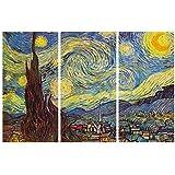 Vincent Van Gogh - Noche Estrellada, 1889, 3 Partes Cuadro, Lienzo Montado Sobre Bastidor (180 x 120cm)