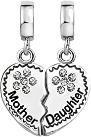 KunBead Engraved Mother and Daughter Charms for Bracelets Love Heart Pendant Crystal Birthstone Dangle Women Girls Gift for