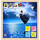 ArtzFolio Girl Jumping Into The Blue Night Sky Printed Bulletin Board Notice Pin Board cum Natural Brown Framed Painting 12 x 12.6inch