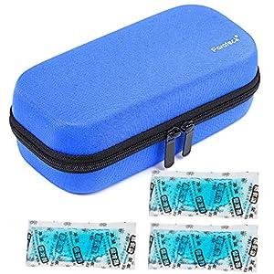 Hartschalen Insulin Kühltasche Diabetiker Tasche Temperaturanzeige Medikamententasche mit 3 Kühlakkus