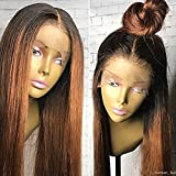 PlatinumHair Human Hair Straight Lace Front Wigs100% Real Brazilian Hair Ombre Black Roots 1B 30 Color 130% Density Wig For Black Women (18Inch, 1B30)