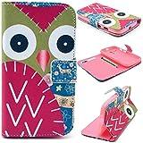 Angelina(TM) Motorola Moto G Case New Red Cartoon Owl Magnetic Flip PU Leather Wallet Card Slot Stand Phone Case Cover for Motorola Moto G XT1028 XT1031 XT1032