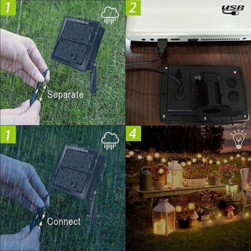 Tobbiheim Solar Lichterkette mit USB Ladung 20 LED Laterne 5 Meter Lampions Super Lange Beleuchtungszeit Wasserdicht IP68 Outdoor Garten Außenbeleuchtung mit 2M Zuleitung – Warmweiß - 6