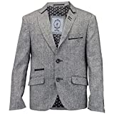 Jungen Kinder Wollmischung Fischgrätenmuster Tweed Blazer Patch Jacke Von Creon Previs - Synthetisch, Grau - BARKLY, 70% viskose 70% polyester 30% wolle 5% wolle 5% elasthan 95% polyester 25% nylon, Herren, 128