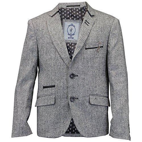 Jungen Kinder Wollmischung Fischgrätenmuster Tweed Blazer Aufnäher Jacke von Creon Previs - grau - Barkly, 7 Years