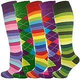 MySocks Unisex Kniehohe lange Socken Streifen Multi 503
