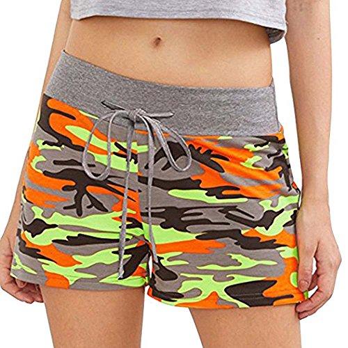 s Frauen Mitte Taille Shorts Camouflage Shorts Elastische Taille Baumwolle Overalls Lässige Sport Fitness Shorts (Kostüm Kleiderschrank Stunden)