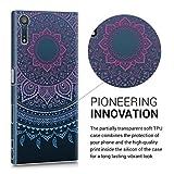 kwmobile Hülle für Sony Xperia XZ / XZs - TPU Silikon Backcover Case Handy Schutzhülle - Cover klar Indische Sonne Design Blau Pink Transparent -