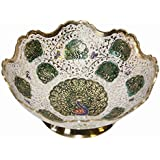 HAND CRAFTED METAL BRASS FRUIT BOWL WITH MINAKARI WORK, BOWL FOR SERVING, COLLECTIBLE ART,PERFECT FOR HOME DECORATION AND GIFTING