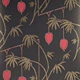 Harlequin à motif Motif floral papier peint (Noir, Doré et rouge 35617)